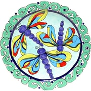 Thompson and Elm Dana Wittmann Wings Dragonfly Handpainted Ceramic Round Platter