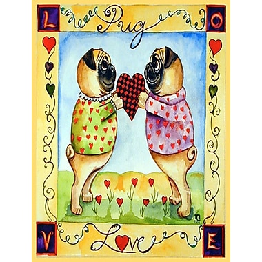 Caroline's Treasures Pug LOVE Pug Love Valentine's Day 2-Sided Garden Flag