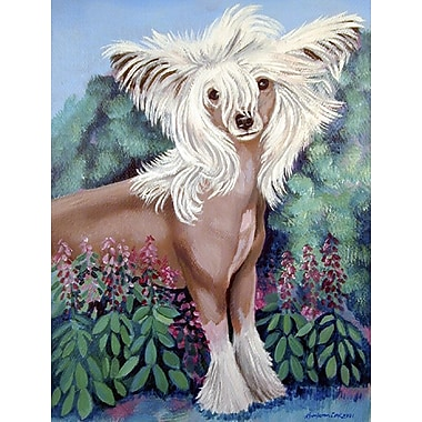 Caroline's Treasures Chinese Crested in flowers 2-Sided Garden Flag