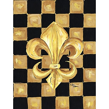 Caroline's Treasures Black and Gold Fleur de lis checkered 2-Sided Garden Flag