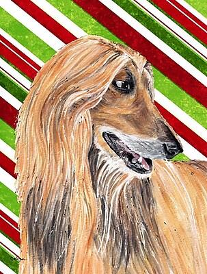Caroline's Treasures Afghan Hound Candy Cane Holiday Christmas 2-Sided Garden Flag