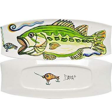 Thompson and Elm Dana Wittmann Fins Bass Handpainted Ceramic Rectangular Tray