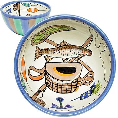 Thompson and Elm Dana Wittmann Fins Trout Handpainted Ceramic Bowl
