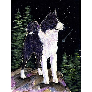 Caroline's Treasures Starry Night Karelian Bear Dog House Vertical Flag