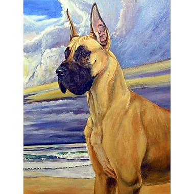 Caroline's Treasures Fawn Great Dane at the beach House Vertical Flag