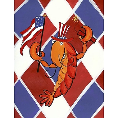 Caroline's Treasures Crawfish Patriotic USA House Vertical Flag