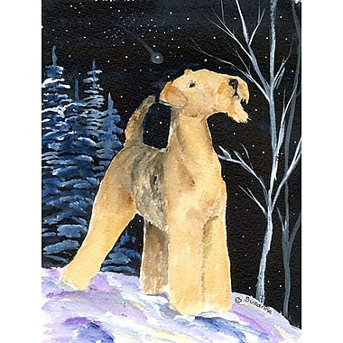 Caroline's Treasures Starry Night Airedale House Vertical Flag
