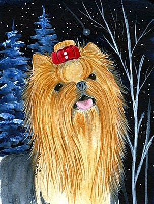 Caroline's Treasures Starry Night Yorkie House Vertical Flag