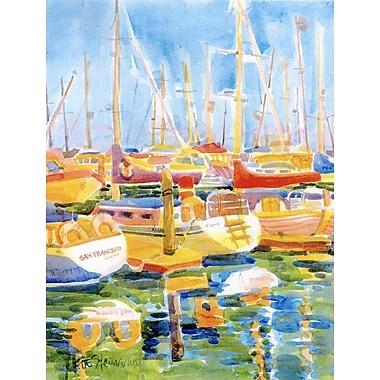 Caroline's Treasures Boats at Harbour Pier House Vertical Flag