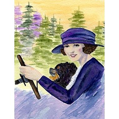 Caroline's Treasures Lady driving w/ Her Pomeranian House Vertical Flag