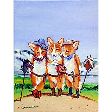 Caroline's Treasures Cowboy Corgi House Vertical Flag
