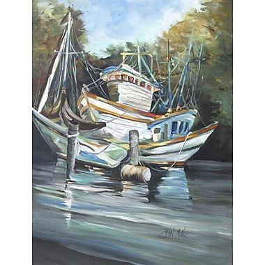 Caroline's Treasures Shrimpers Cove and Shrimp Boats House Vertical Flag