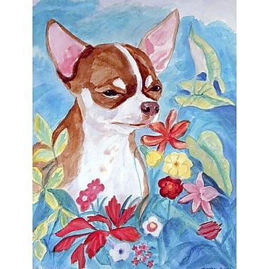 Caroline's Treasures Chihuahua in flowers House Vertical Flag