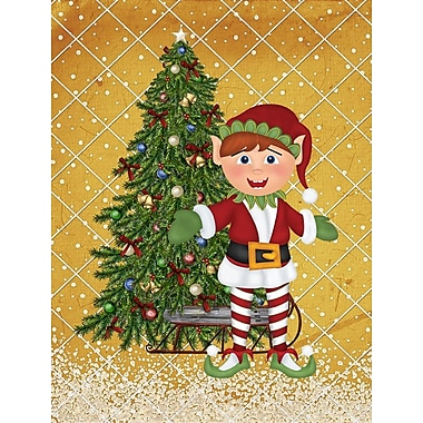 Caroline's Treasures Santa's Elf and Christmas Tree House Vertical Flag