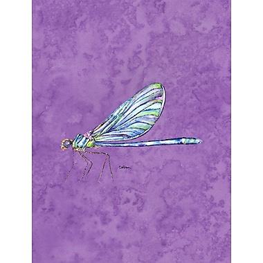 Caroline's Treasures Dragonfly on Purple 2-Sided Garden Flag