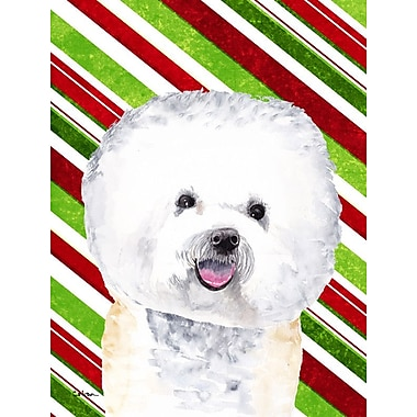 Caroline's Treasures Bichon Frise Candy Cane Holiday Christmas 2-Sided Garden Flag