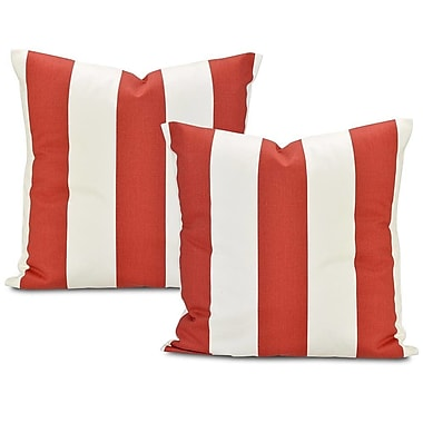 Half Price Drapes Picante Stripe Printed Cotton Throw Pillow Cover (Set of 2)