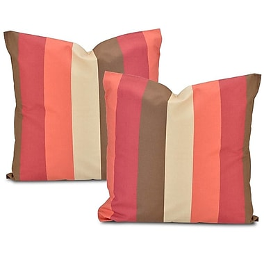 Half Price Drapes Cabana Printed Cotton Cushion Cover (Set of 2); Spice