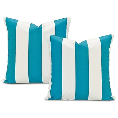 Half Price Drapes Cabana Printed Cotton Cushion Cover (Set of 2); Teal