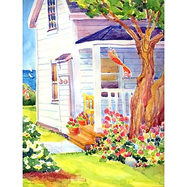 Caroline's Treasures White Cottage House at the lake or Beach 2-Sided Garden Flag