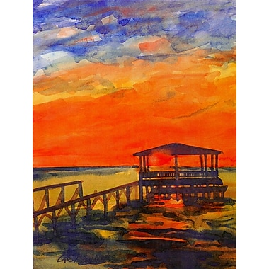 Caroline's Treasures Sunset from the Dock at the pier 2-Sided Garden Flag