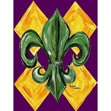 Caroline's Treasures Mardi Gras Harlequin Fleur-de-lis 2-Sided Garden Flag
