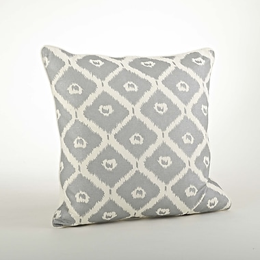 Saro Olympia Printed Ikat Cotton Throw Pillow; Silver