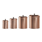 Global Amici Round Hammered 4 Piece Kitchen Canister Set