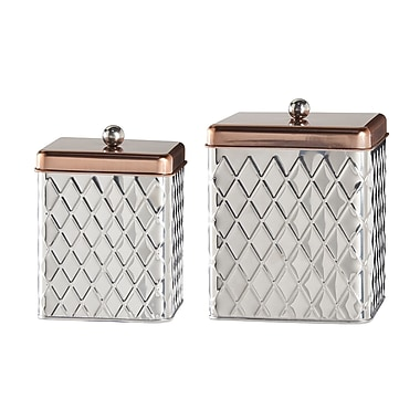 Global Amici Square Diamond 2 Piece Kitchen Canister Set