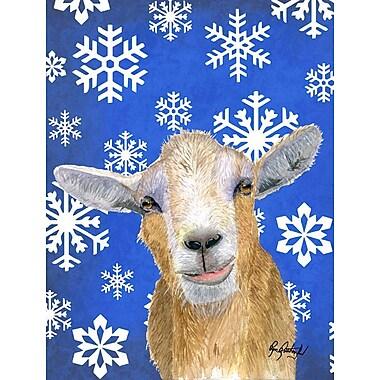 Caroline's Treasures Winter Snowflakes Goat Winter House Vertical Flag