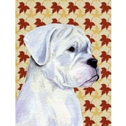 Caroline's Treasures Boxer White Fall Leaves House Vertical Flag