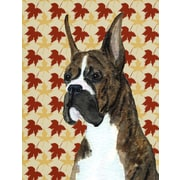 Caroline's Treasures Boxer Brindle Fall Leaves House Vertical Flag