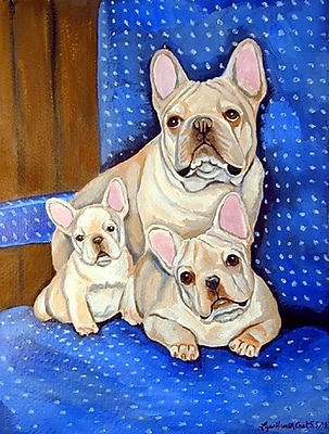 Caroline's Treasures White Frenchies in Momma's Chair French Bulldog House Vertical Flag
