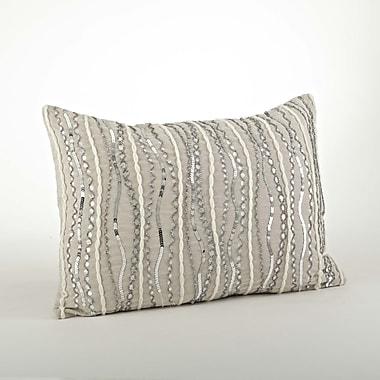 Saro Stella Beaded Cotton Throw Pillow