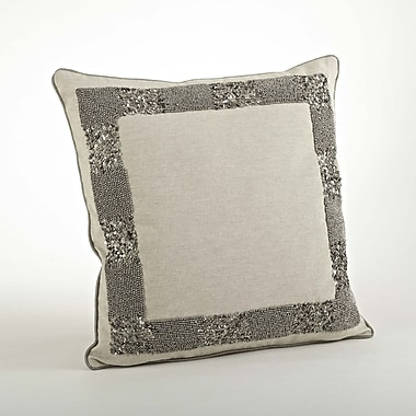 Saro The Posh Beaded Cotton Throw Pillow