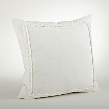 Saro Mathilde Ruffled Cotton Throw Pillow; Ivory