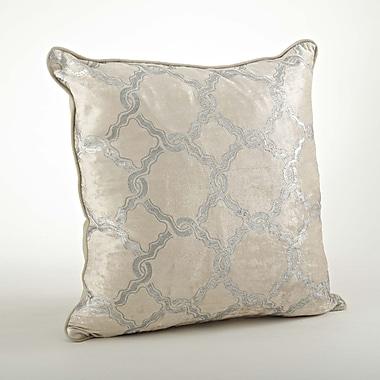 Saro Velours Velvet Chain Link Cotton Throw Pillow; Silver