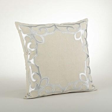 Saro Ottavia Cutwork Cotton Throw Pillow; Silver