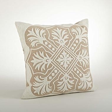 Saro Gabriela Embroidered Cotton Throw Pillow; Natural