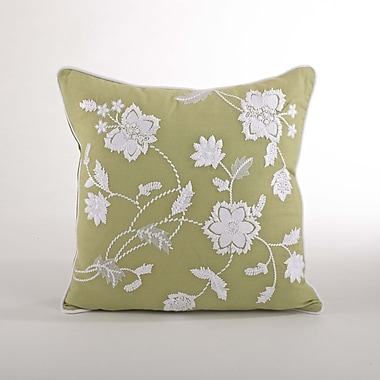 Saro Laverna Embroided Floral Cotton Throw Pillow; Olive