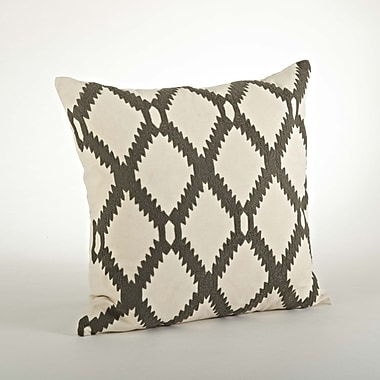 Saro Dakota Ari Embroidered Cotton Throw Pillow; Gray