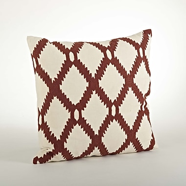 Saro Dakota Ari Embroidered Cotton Throw Pillow; Rust