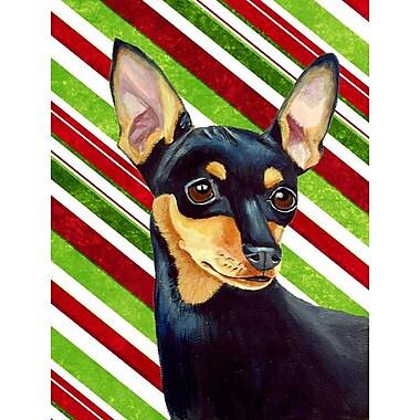 Caroline's Treasures Min Pin Candy Cane Holiday Christmas 2-Sided Garden Flag