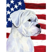 Caroline's Treasures American Flag w/ Boxer 2-Sided Garden Flag