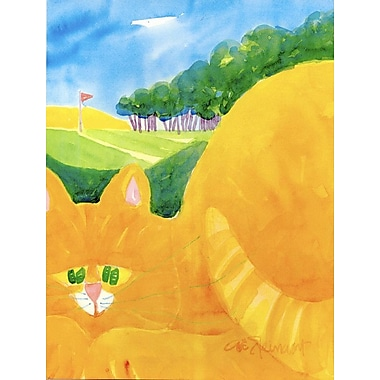 Caroline's Treasures Orange Tabby Cat on the Green Golfer House Vertical Flag
