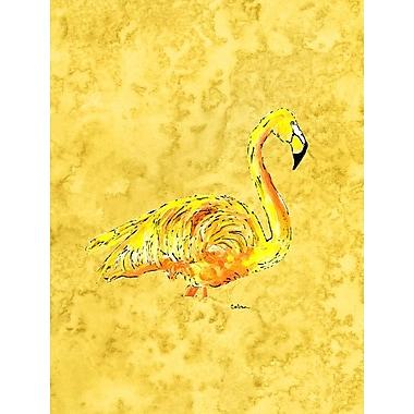 Caroline's Treasures Flamingo on Yellow House Vertical Flag