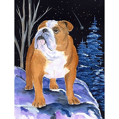 Caroline's Treasures Starry Night English Bulldog House Vertical Flag