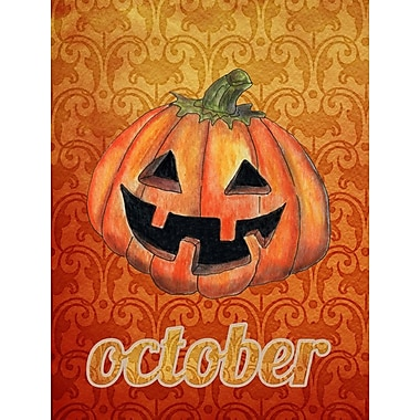Caroline's Treasures October Pumpkin Halloween House Vertical Flag