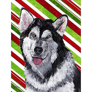 Caroline's Treasures Alaskan Malamute Candy Cane Holiday Christmas 2-Sided Garden Flag