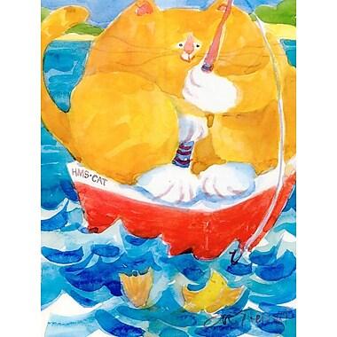 Caroline's Treasures HMS Orange Tabby Fishing Cat 2-Sided Garden Flag